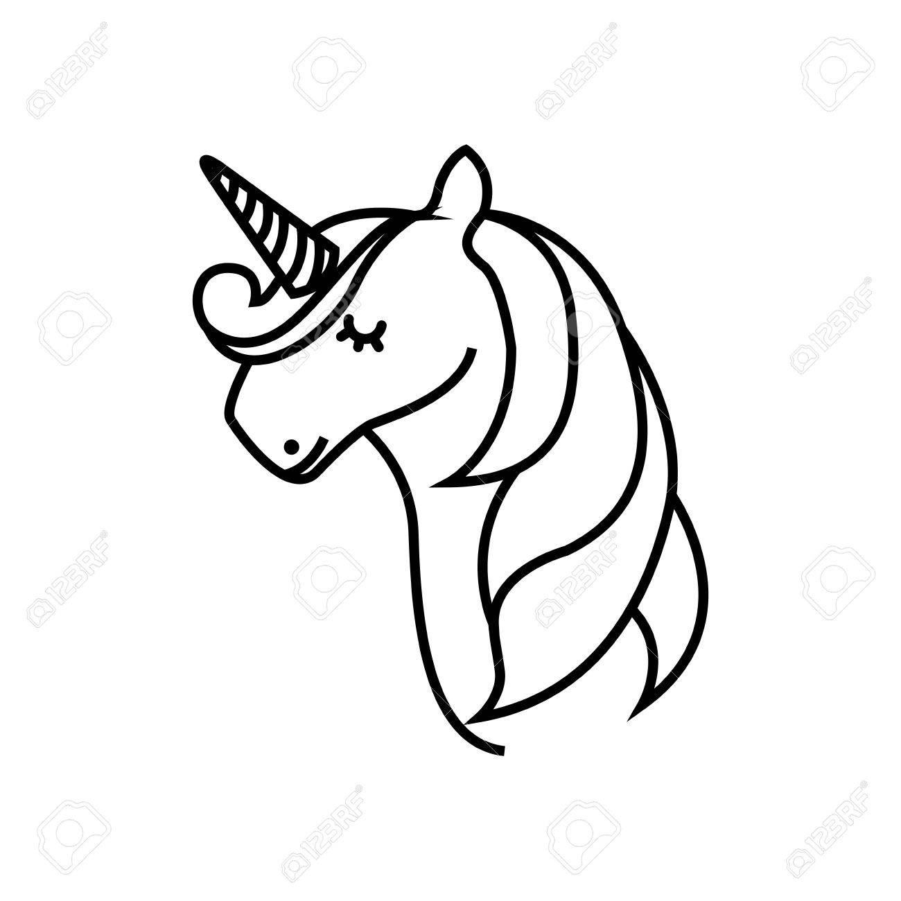 1300x1300 Drawing Cute Unicorn Icon Vector Illustration Design Royalty Free