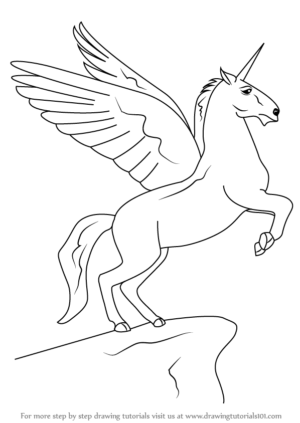 598x844 Learn How To Draw A Unicorn With Wings (Unicorns) Step By Step