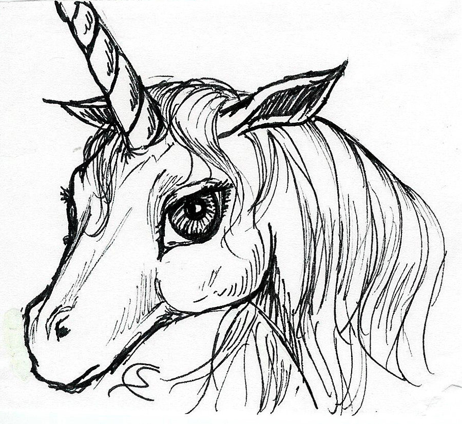 900x826 Unicorn Head By Soniacarreras