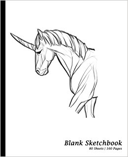 260x320 Blank Sketchbook Unicorn Drawing, Sketchpad Drawing Book [7.5
