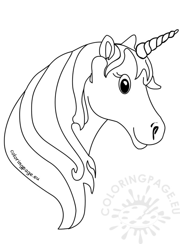 595x808 Unicorn Face Coloring Pages For Kids Coloring Page