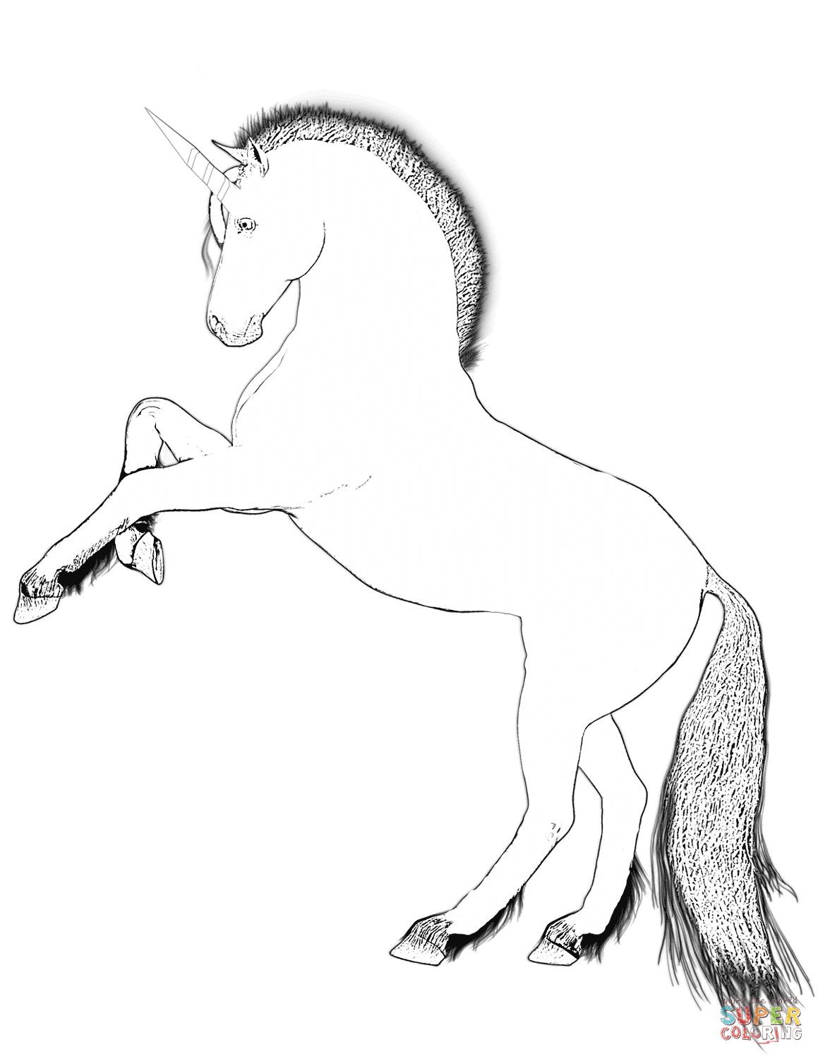 1159x1500 Rearing Unicorn Coloring Page Free Printable Pages