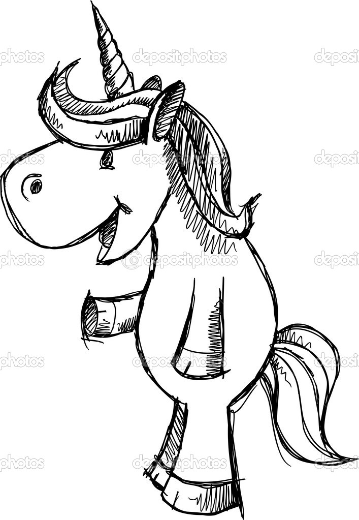 707x1023 Easy To Draw 2d Unicorns Cute Unicorn Sketch Doodle Vector