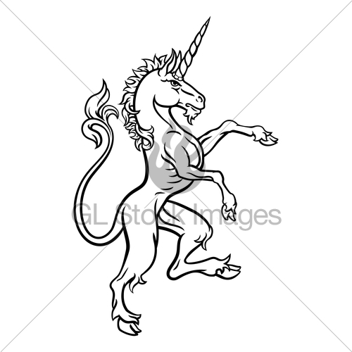 500x500 Heraldic Style Unicorn Drawing Gl Stock Images
