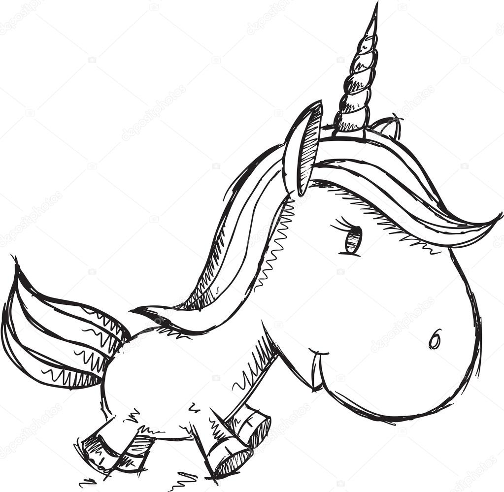 1023x999 Sketch Doodle Unicorn Drawing Vector Art Stock Vector