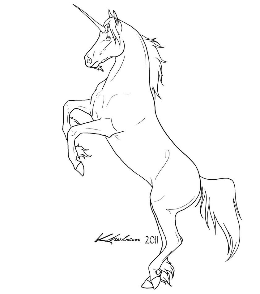 841x949 Unicorn Lineart By Kholran