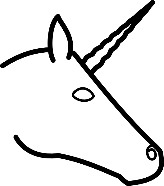 528x600 unicorn head profile clip art