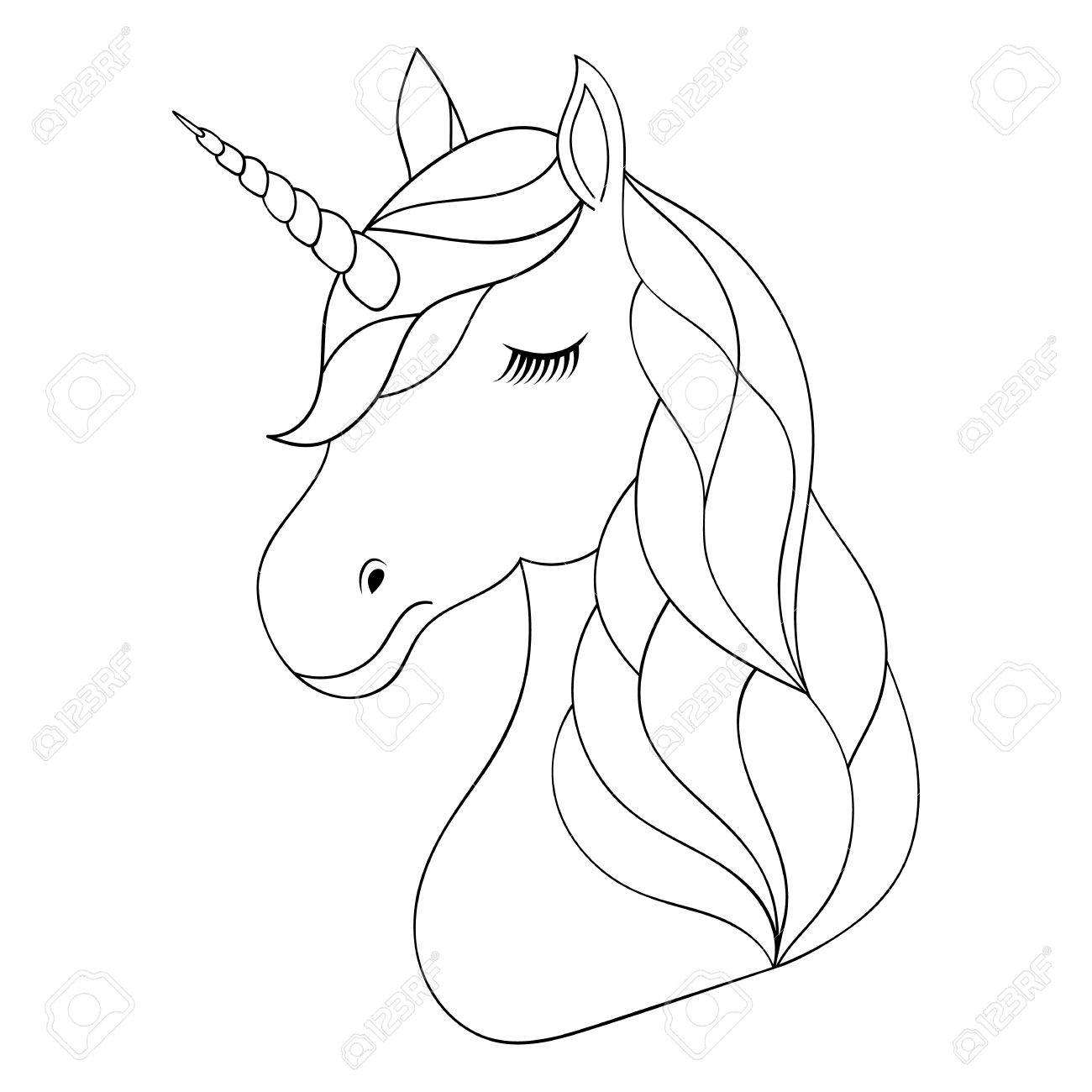 1300x1300 Head Of Hand Drawn Unicorn Royalty Free Cliparts, Vectors,