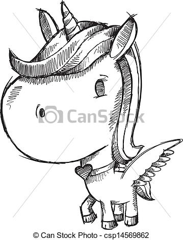 359x470 Sketch Doodle Unicorn Pony Vector Clip Art Vector