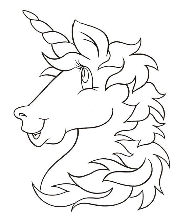 600x759 Unicorn Head Coloring Pages
