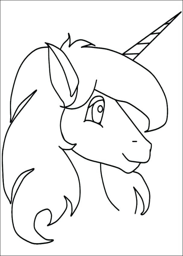 607x850 Unicorn Head Coloring Pages As Well As Unicorn Picture To Color