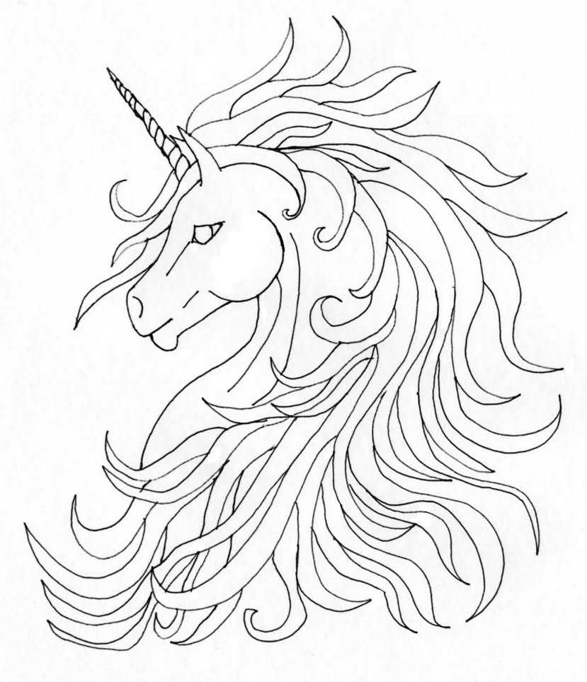 829x964 Unicorn Head Drawing Black Unicorn Head Tattoo Stencilamy Mears