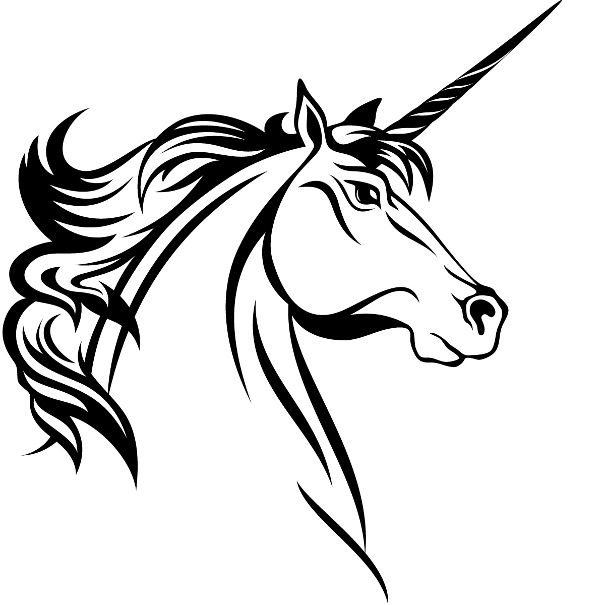 1200x1200 Unicorn Head Horse Animals Wall Art Sticker Decal Transfers