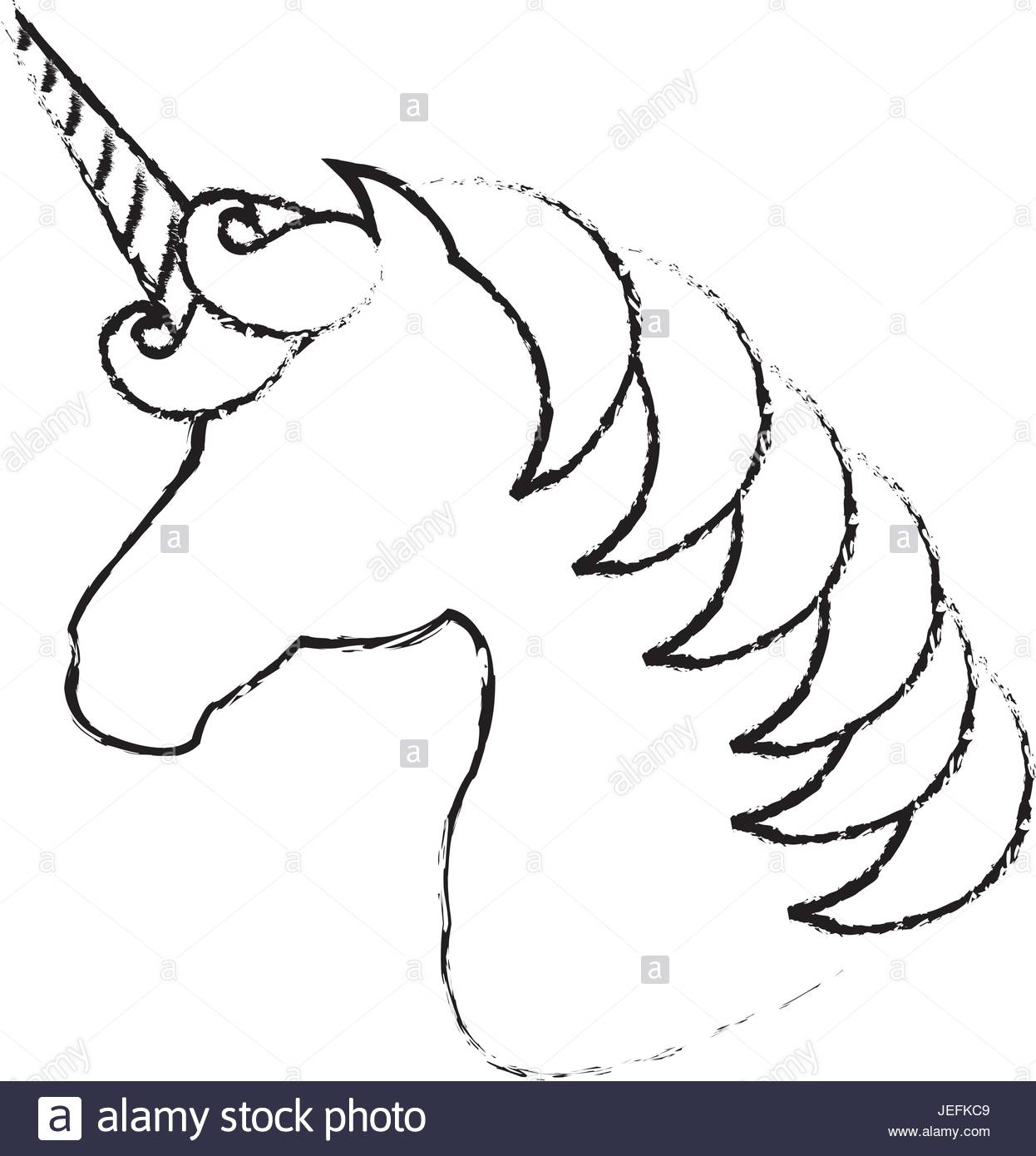 1246x1390 Unicorn Animal Horn Icon Vector Illustration Design Draw Stock