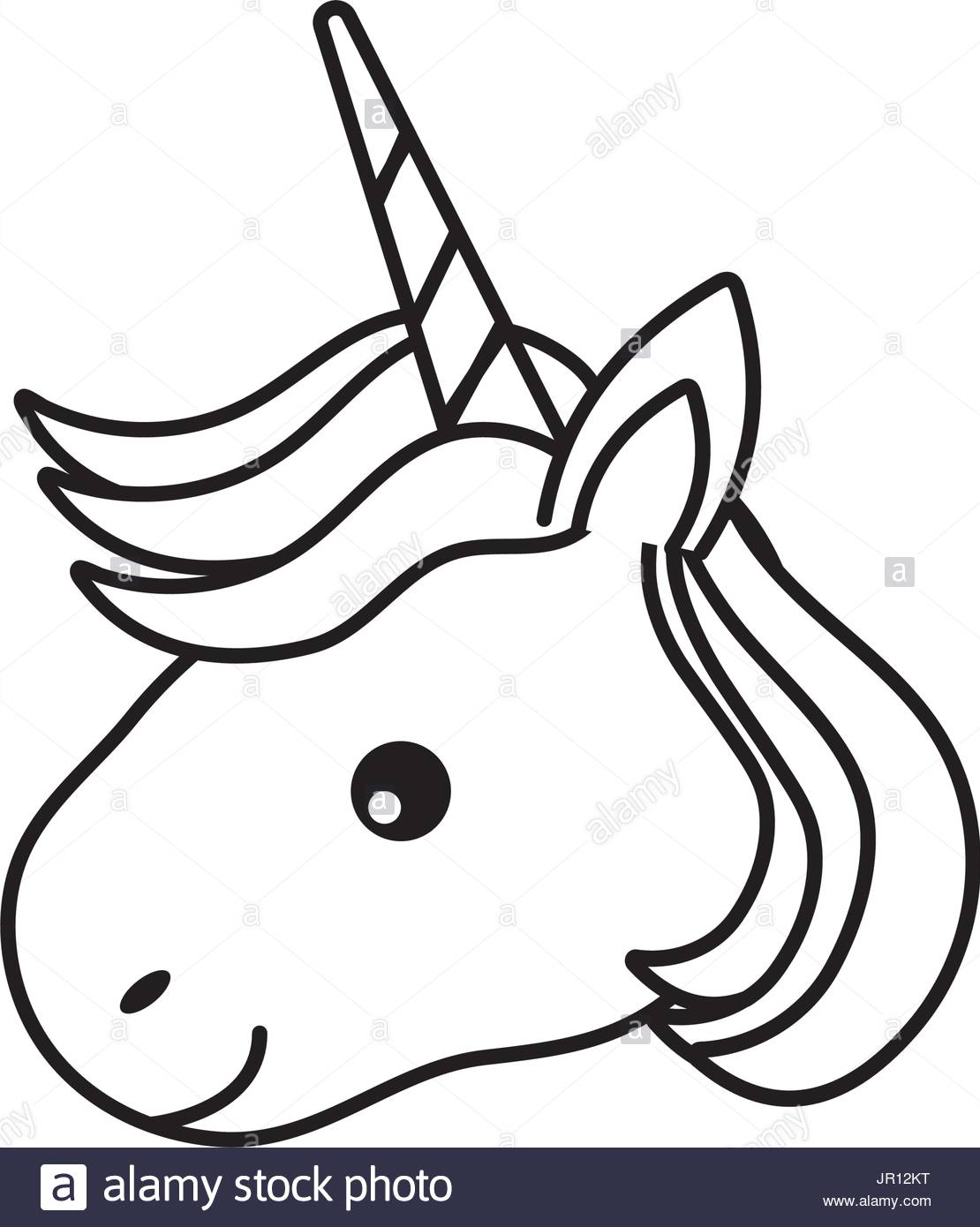 1110x1390 Line Cute Unicorn Head With Horn And Hairstyle Stock Vector Art