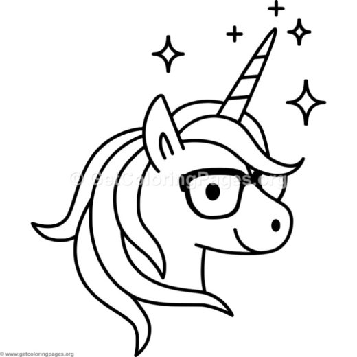 520x520 Unicorn Head Coloring Pages