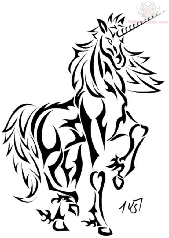 553x777 Collection Of Tribal Unicorn Head Tattoo Stencil