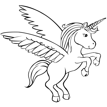 450x450 drawn cartoon unicorn