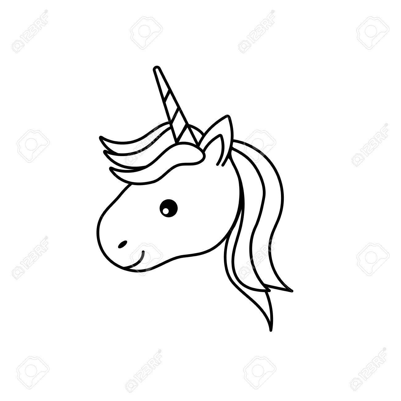 1300x1300 Line Cute Unicorn Head With Horn And Hairstyle Royalty Free