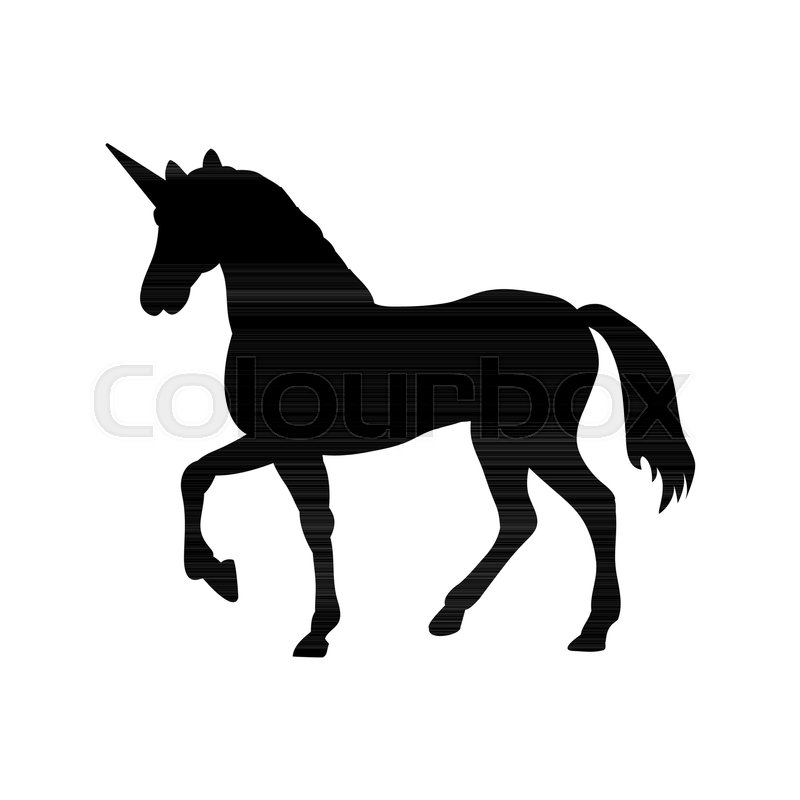 800x800 Unicorn Silhouette Mythology Symbol Fantasy. Vector Illustration