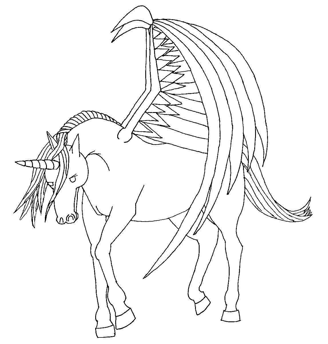 Ausmalbilder Pegasus Einhorn : Unicorn With Wings Drawing At Getdrawings Com Free For Personal
