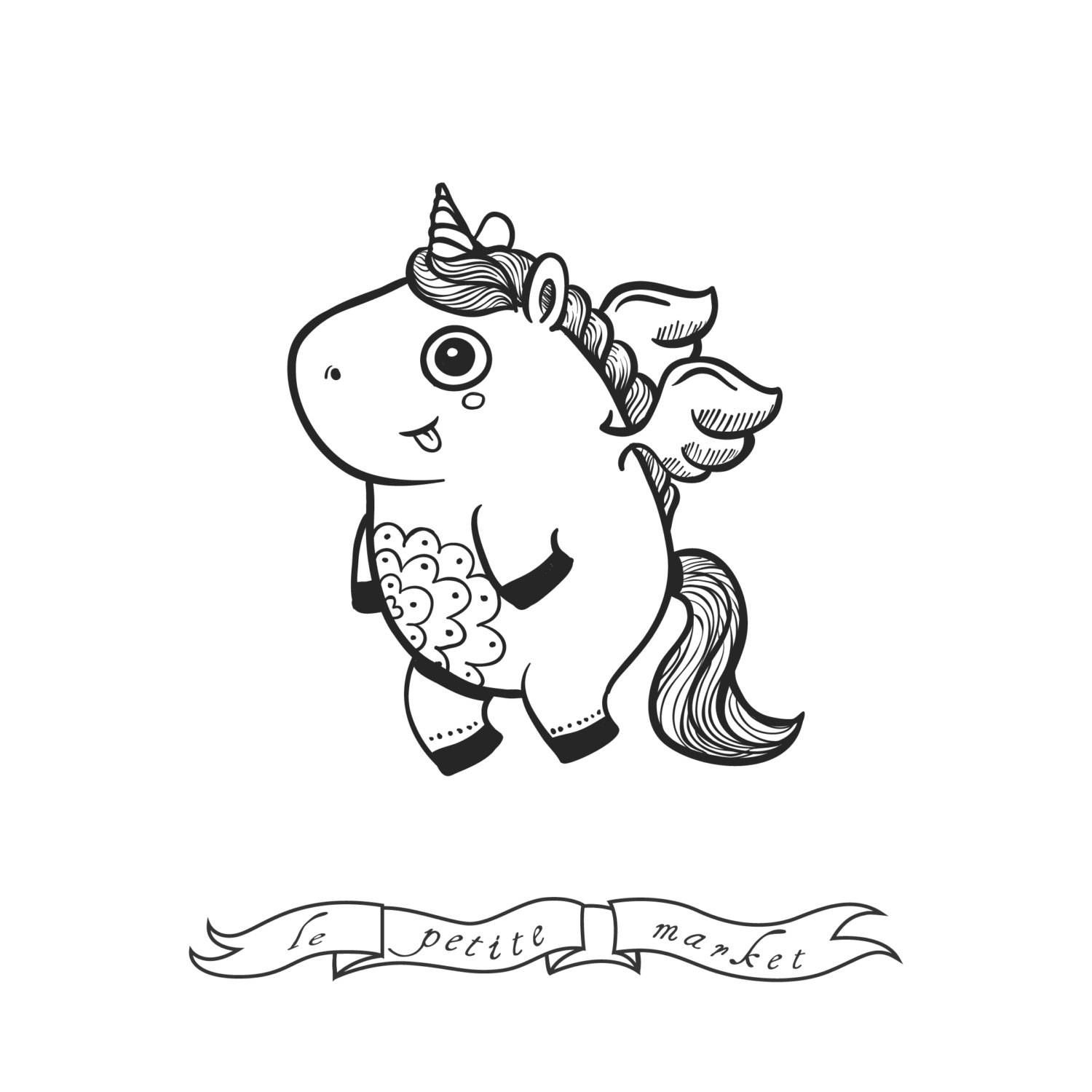 1500x1500 Cute Unicorn Clip Art Set, Cute Hand Drawn Unicorns, Hand Drawn