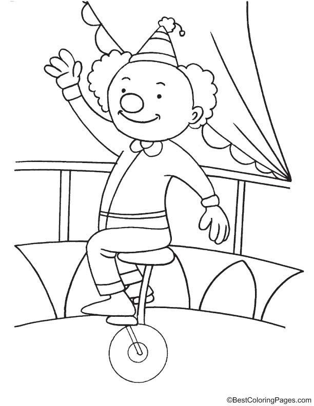 612x792 Clown Riding Unicycle Coloring Page Download Free Clown Riding