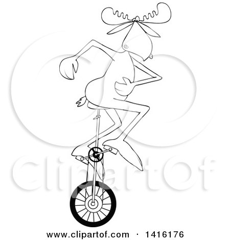 450x470 Cartoon Of A Circus Man Riding A Unicycle On A Tight Rope