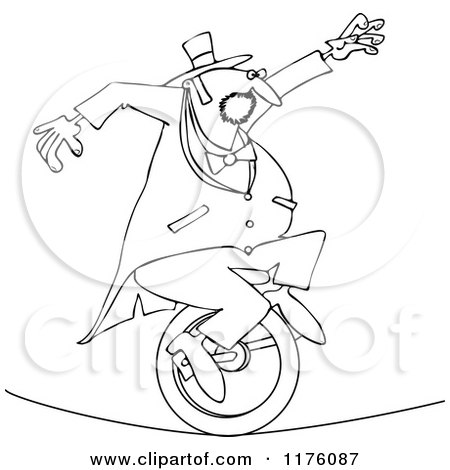 450x470 Cartoon Of An Outlined Circus Man Riding A Unicycle On A Tight