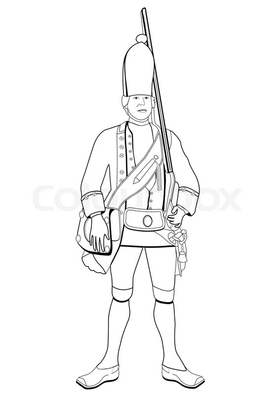 567x800 Grenadier, Vector Coloring Drawing. Soldier Dressed In Military