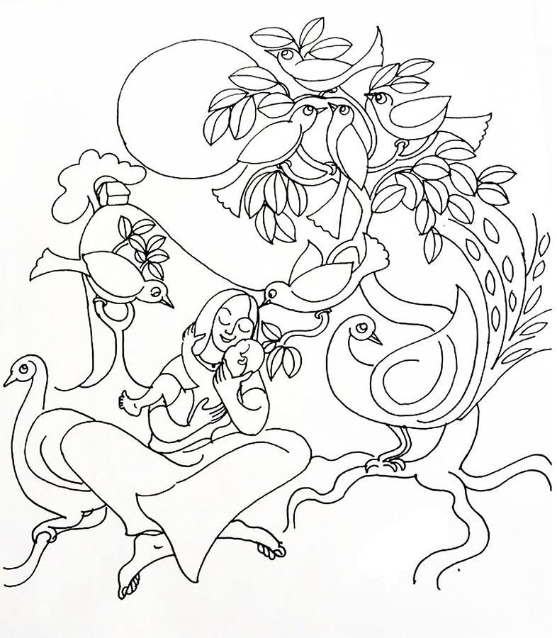 786x900 Line Drawing Drawing By Sreekumar