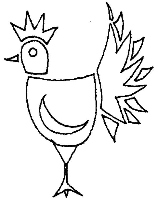 600x756 Unique Drawing Of Rooster Coloring Page Coloring Sky