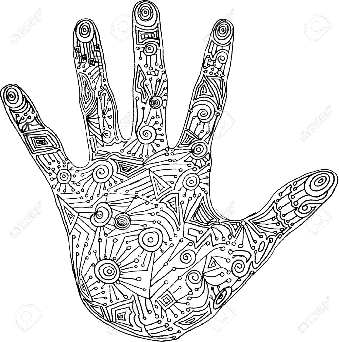 1289x1300 Vector Illustration Of Abstract Hand Unique Royalty Free Cliparts