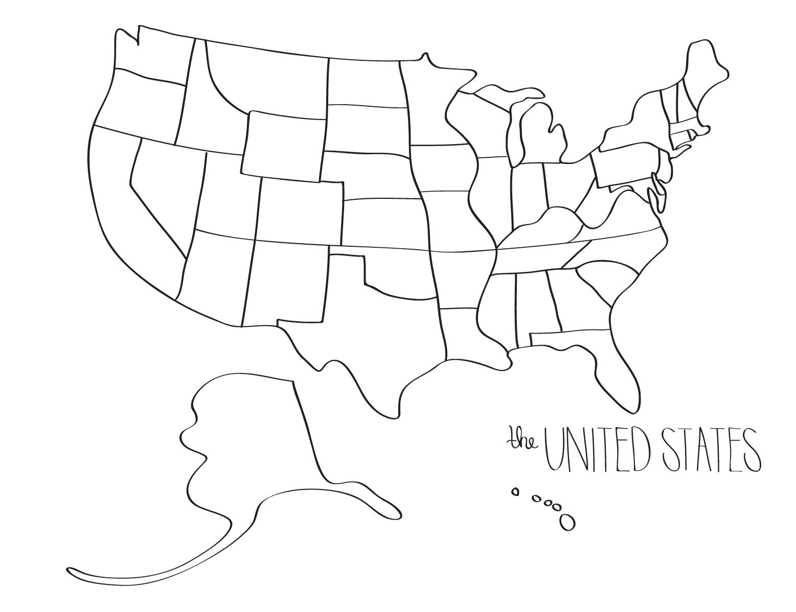 1557x1198 Learn To Draw The United States Blob Map Style United States