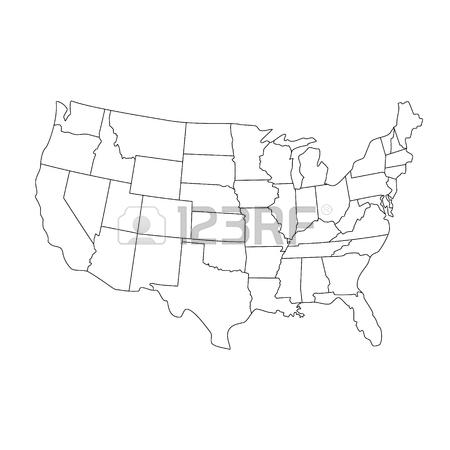 450x450 Raster Illustration Black Silhouette Map United States