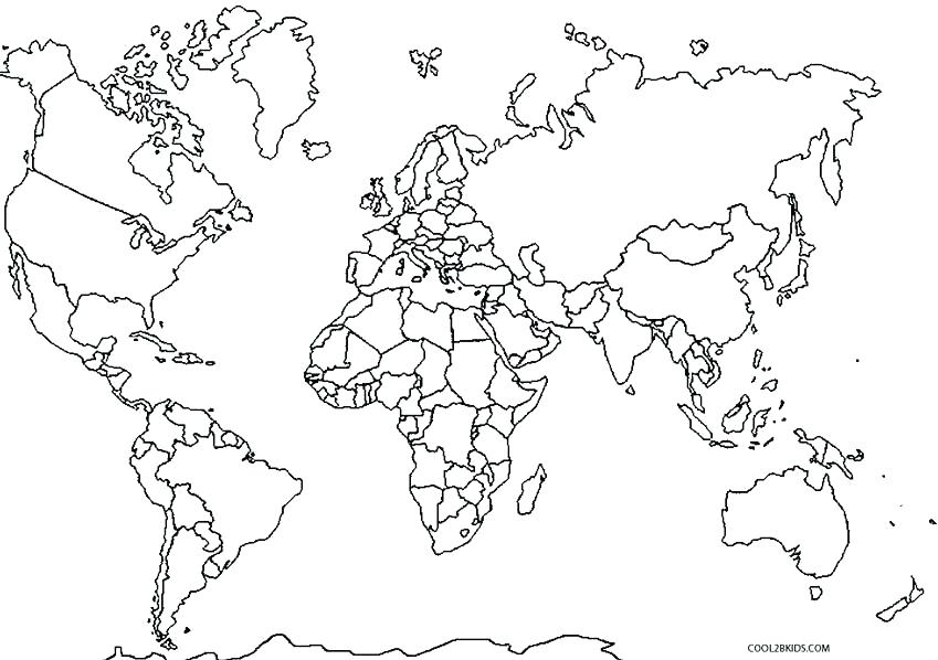 849x598 Central Map Coloring Page Pages World For Kindergarten
