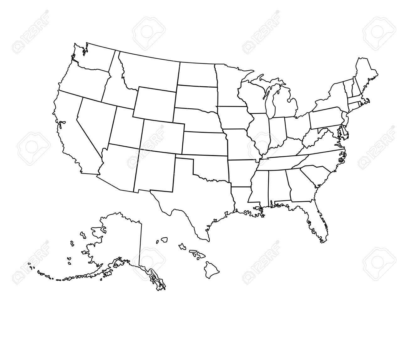 1300x1083 Black Usa Map