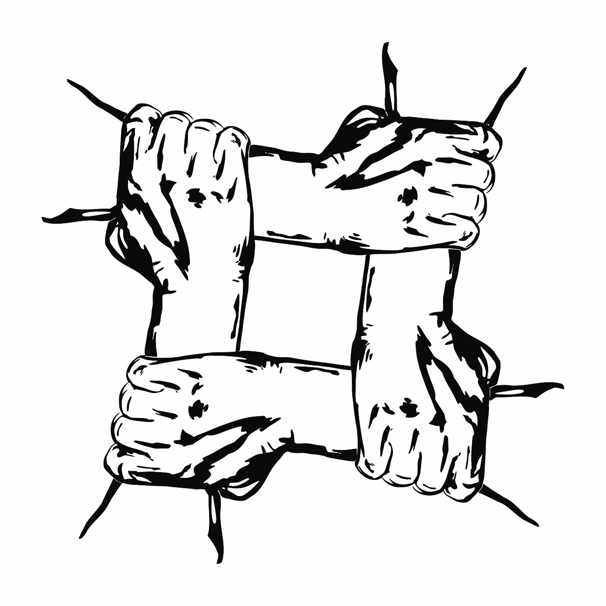 1235x1235 Hands Holding Each Other In Unity Printable Image Illustration