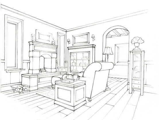 554x420 Fun Interior Space! Interior Line Drawings
