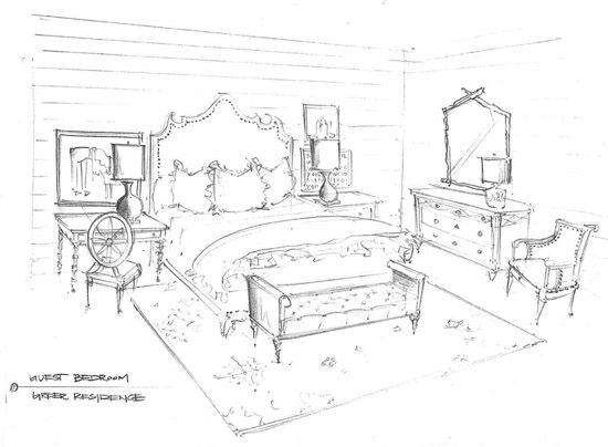 550x404 Guests Are Coming Interior Sketch, Sketches And Desks