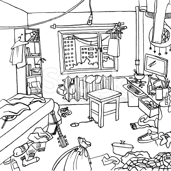 555x556 Illustration Of A Room That Badly Nedds Cleaning. There Is Clutter