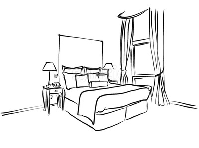 400x297 Animated Vector Illustration Artwork Of Hotel Room Interior Stock