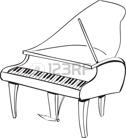 410x450 Piano Black And White Drawing Vector Illustration Of Piano Cover