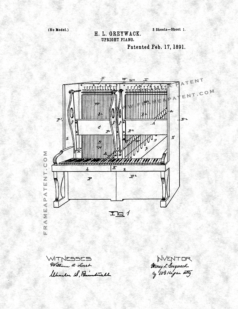 773x1000 Upright Piano Patent Print Poster Item 12375 Frame A Patent