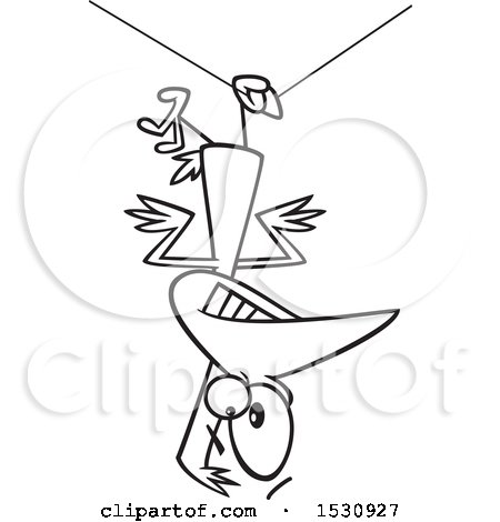 450x470 Clipart Of A Cartoon Outline Clumsy Bird Hanging Upside Down