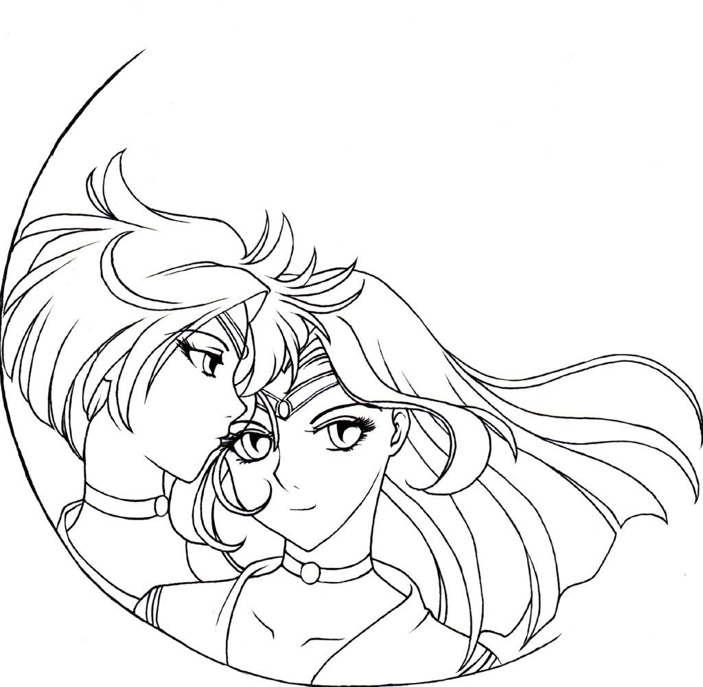 1024x1000 Sailor Neptune Coloring Pages Sailor Uranus And Neptune Coloring