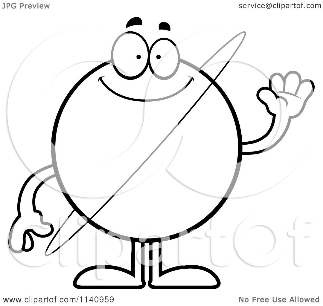 1080x1024 Cartoon Clipart Of A Black And White Waving Planet Uranus