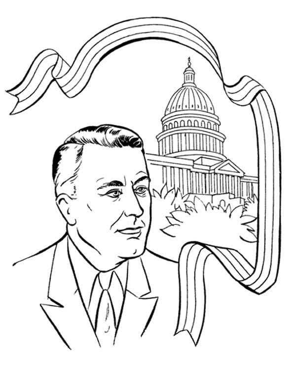 600x756 Us President And The Capitol Hill On Presidents Day Coloring Page