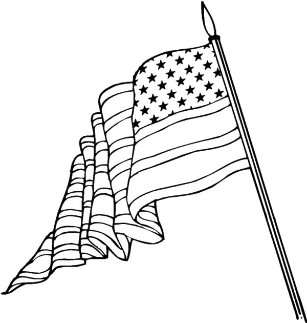 600x630 American Flag On Flagpole For Flag Day Coloring Pages