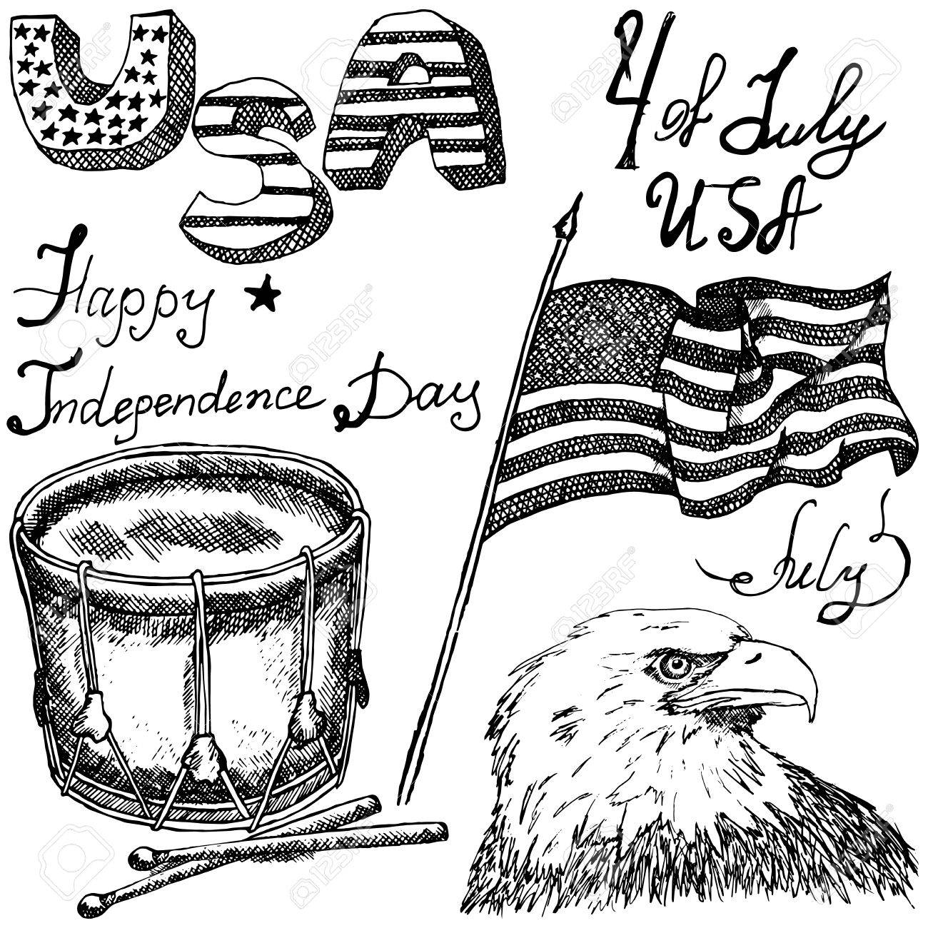 1300x1300 Hand Drawn Sketch American Bald Eagle Drum And Usa Flag, Forth